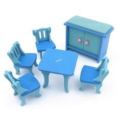 Coromose Creative Kayu Simulasi Furniture 3D Assembly Puzzle Set Bahan Kayu: Ruang Makan
