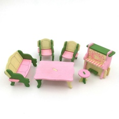 Coromose Creative Kayu Simulasi Furniture 3D Assembly Puzzle Set Bahan Kayu: Ruang Tamu