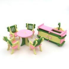 Coromose Creative Kayu Simulasi Furniture 3D Assembly Puzzle Set Bahan Kayu: Dapur