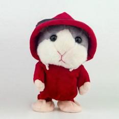 Coromose Lucu Berbicara Mewah Hamster Mainan Merekam Suara Berjalan Boneka Awal Pendidikan Minat Menumbuhkan Mainan Gaya: merah Mantel Rambut Abu-abu