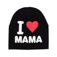 Katun Lembut Anak Balita Lucu Bayi Bayi Topi Hangat Topi Baru (Aku Cinta Ibu Hitam