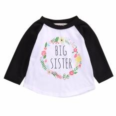 Kapas Pakaian Anak-anak Balita Bayi Perempuan Besar Sister Huruf Kaus Atasan-Internasional