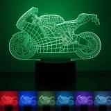 Jual Creative 3D Design 7 Color Led Night Light Push Button Switchusbtable Desk Lamp Decor Motorcycle Pattern Intl Branded Original