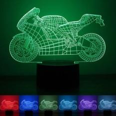 Diskon Besarcreative 3D Design 7 Color Led Night Light Push Button Switchusbtable Desk Lamp Decor Motorcycle Pattern Intl