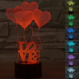 Dimana Beli Creative 3D Illusion Lamp Led Night Lights Love Heart Acrylicdiscoloration Colorful Atmosphere Lamp Intl Oem