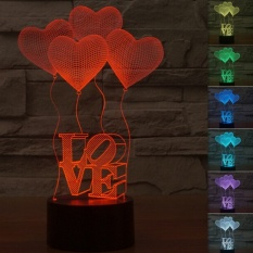 Ulasan Lengkap Tentang Creative 3D Illusion Lamp Led Night Lights Love Heart Acrylicdiscoloration Colorful Atmosphere Lamp Intl