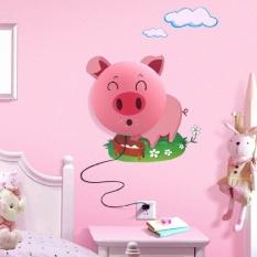 Kreatif DIY Kartun 3D Pink Pig Style Wall Sticker Dinding LampNightLight Lampu untuk Kamar Tidur/Ruang Tamu-Internasional