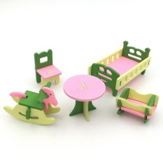 Kreatif Simulasi Kayu Furniture 3D Assembly Puzzle Set Konstruksi Bangunan Blok Jigsaw Puzzle Mainan Gaya: Kamar Bayi-Intl