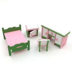 Creative Wooden Simulation Furniture 3D Assembly Puzzle Set Building Construction Blocks Jigsaw Puzzle Toys Style:Bedroom - intl