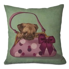 CS 18 Square Katun Linen Dekorasi Cushion Cover Sofa Mobil Chairthrowpillow Cover Cute Dog Di Bag-Intl