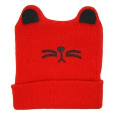 Cute Baby Boys Girls Cat Ear Knit Keep Warm Hat RD - intl
