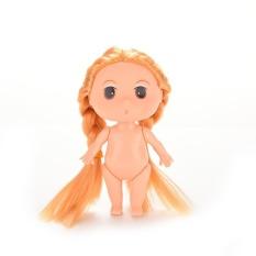 Boneka Lucu dengan Ganda Pirang Braids Panggang Cetakan-Internasional