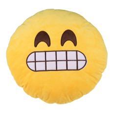 Lucu Bentuk Emoticon Kuning Bantal Bulat Model Bantal Boneka Mainan Tawa