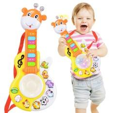 Lucu Fawn Musik Gitar Elektronik Organ dengan Drum Mainan Mainan Pendidikan Awal untuk Anak Laki-laki dan Perempuan Keberuntungan-G- internasional