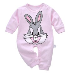 Cute Rabbit Print Baby Kids Satu Pieces Long Sleeve Kapas Jumpsuit Baju Monyet-Internasional By Valueshopping-Mal.