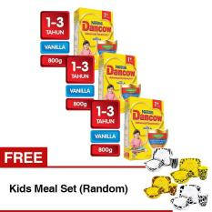 DANCOW ADVANCED EXCELNUTRI 1+ Vanila Box 800g - Bundle Isi 3 Box - Free Kids Meal Set