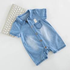 Review Denim Soft Musim Panas Baju Baju Monyet Bayi Baju Oem Di Tiongkok