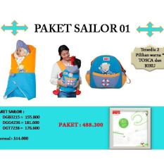 Dialogue Baby Paket Sailor 01 (selimut Topi Bayi + Tas Bayi Medium + Gendongan Ransel Depan Bayi) - Dps001 By Dialogue Group.