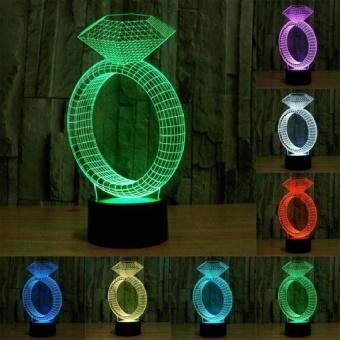Diamond Ring Style Pengisian USB 7 Warna Perubahan Warna CreativeVisual Stereo Lampu 3D Touch Switch Control LED Light Desk LampNight Light. Ukuran Produk: 24.7X12.8X8.7 Cm-Intl