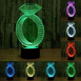 Diamond Ring Style Pengisian USB 7 Warna DiscolorationCreativeVisual Stereo Lampu 3D Touch Switch Control LED Light DeskLampNight Light. Ukuran Produk: 24.7X12.8X8.7 Cm-Intl