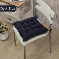 Diotem 11 Warna Solid Cotton Seat Bantalan Kursi Bantal Mat dengan Cord 40*40 Cm untuk Patio Rumah Mobil Sofa Kantor Tatami-Navy-Intl