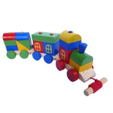 DND Mainan Edukatif / Edukasi Anak - Puzzle Balok Kayu - Rainbow Train Block / Kereta Pelangi