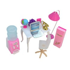 Dolls Accessories Pretend Play Furniture Set Toys for Barbie Dolls as Xmas Gifts for Kids Style:office - intl