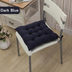 DOTEC 11 Colors Solid Cotton Seat Pads Chair Cushion Mat With Cord 40*40CM For Patio Home Car Sofa Office Tatami - Navy - intl