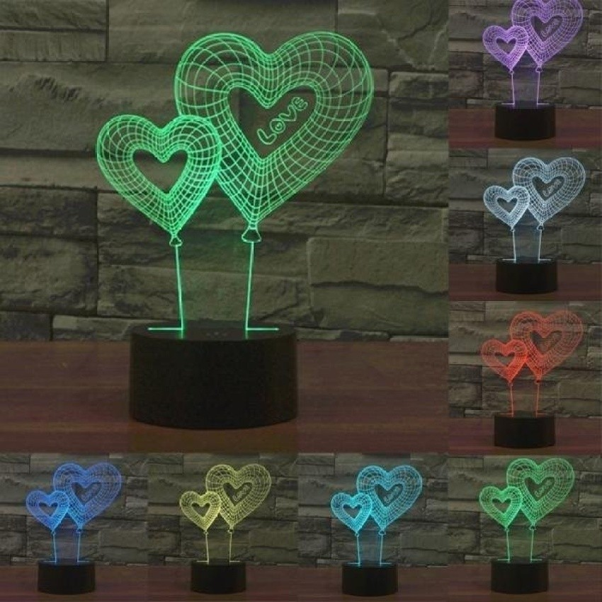 Double Heart Balon Gaya USB Pengisian 7 ColourDiscolorationCreative Visual Stereo Lampu 3D Touch Switch Lampu Yang Dikontrol DeskLamp Lampu Malam. Ukuran Produk: 19.5X14.1X8.7 Cm-Intl