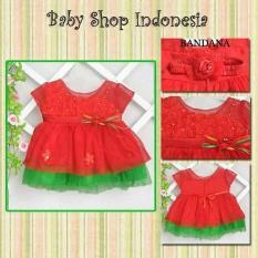 Spek Dress Anak Pesta Dress Pesta Bayi Dress Tutu Bayi Brocade Red Multi
