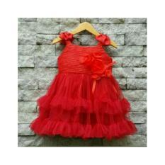 Diskon Dress Gaun Pesta Anak Satin Silk Tulle Red Ribbon Potd C Joyo Baby Indonesia