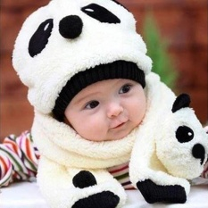 Eachgo Modis Lucu Bayi Anak Hangat Musim Dingin Comfort Topi Panda Tutup dan Syal Jas-Internasional