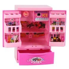 Kulkas Pendidikan Mini Kulkas Peralatan Dapur Mainan Merah Muda untuk Anak Perempuan 3 +-Internasional
