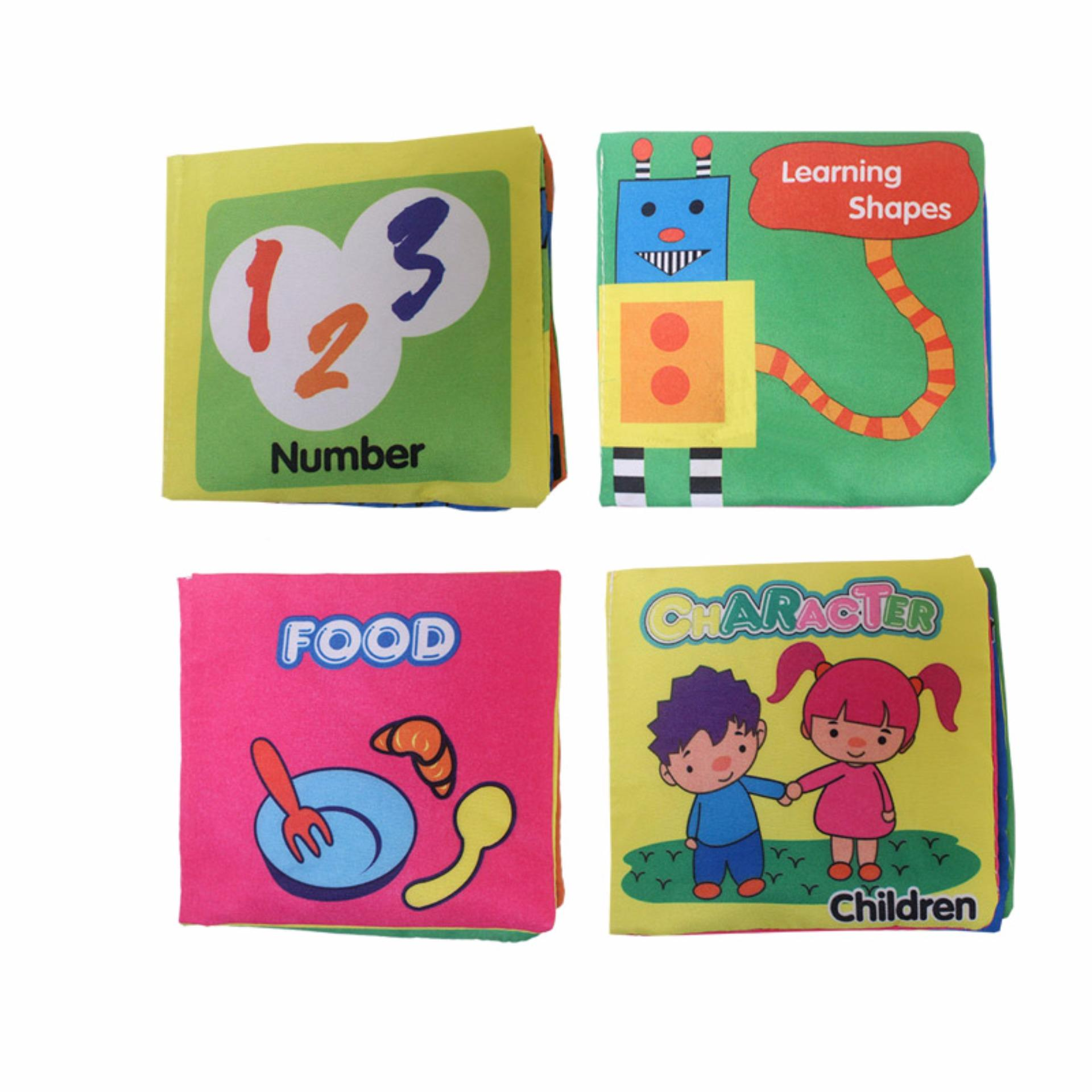 EELIC AYI-BU01 1 SET = 4 PCS NUMBER, SHAPES, FOOD, CHARACTER BABY BOOK MAINAN BUKU BAYI KAIN