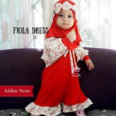 Elbi Fiola Dress / Setelan Muslim Bayi / Baby Dress / Gamis Balita / Cardigan Anak Muslimah / Addina Store
