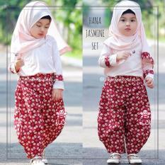 Spesifikasi Elbi Hana Jasmine Set Baju Muslim Anak Balita Size 3 4 Tahun Paling Bagus