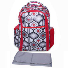 Model Elle Diaper Bag Tribal Backpack Diaper Changing Matt Merah Abu Abu Terbaru