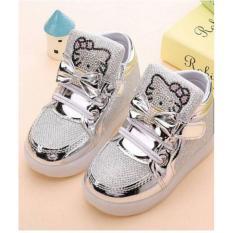 Elv Sepatu Led Anak Hello Kitty Size 28 Silver Original