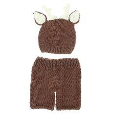Eozy Cute Deer Rajutan Fotografi Props Beanie Topi Celana Benang Wol Crochet Kostum Pakaian untuk 0