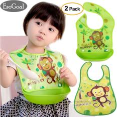 Review Esogoal Baby Bibs Dengan Food Catcher 2 Pcs Waterproof Wipe Off Bibs Baki Dilepas Bib Saku Reversibel Bib Terbaru