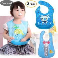 Toko Esogoal Baby Bibs With Food Catcher 2 Pcs Waterproof Wipe Off Bibs Detachable Tray Bib Reversible Pocket Bib Lengkap Di Tiongkok