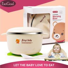 Ulasan Esogoal Balita Stainless Mangkuk Dan Sendok Set Warming Bowl Dengan Sucker Silicone Untuk Memberi Makan Bayi Balita