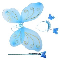 Peri Mewah 3 Pcs Kupu-Kupu Sayap Peri Malaikat Tongkat Headband Kostum Tari Partai Biru-Intl By Blossom Mall.