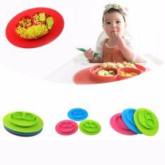 Fancyqube One-Piece Silicone Tempat Mat + Plate Tray Bayi Balita Kids Suction Meja Merah-Intl