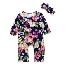 Fang Fang 2 Pcs Bayi Gadis Baju Jumpsuit Floral Cetak Rompers + Headband (untuk Tinggi 70-100 Cm, 1-18months Girls)-Intl