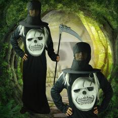 Kostum Halloween Menakutkan Fang Fang EVA Topeng Besar Pakaian Hitam Kambing Wizard Jubah Topi Tidak Ada Pakaian Wajah-topi Hitam