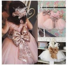 Fantastis Bunga Bayi Gadis Manis Payet Pesta Bola Gaun Mini Pakaian Dansa Putri Gaun-putih Ukuran 80 Cm -Intl