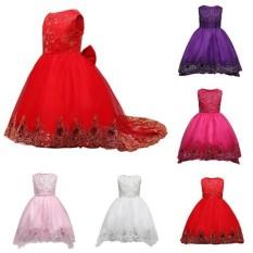Fantastis Bunga Baru Hot SALE Girls Butterfly Bordir Baju Pesta Baju Pengantin Junior Bridesmaid Dress Putri Gaun Anak Manik-manik Renda Panjang Tail Red Princess-Pink-TINGGI: 120 Cm-Intl