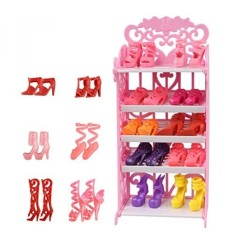 Farand Doll Shoes Rack House Furniture Accessory + 16 Pairs Shoes for Barbie Doll Playset Fashionista - intl