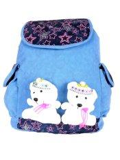 Farrel Cute Bear Girl Blue Backpack - Blue
